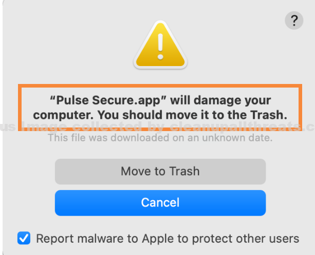 """""""Pulse Secure.app will damage your computer"""" Malware"""