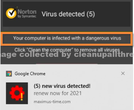 Your computer is infected with a dangerous virus SCAM POP-UP